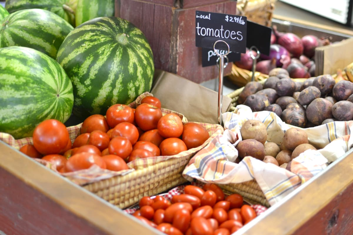 Locally sourced fruits and vegetables on display at Prairy Market and Deli
